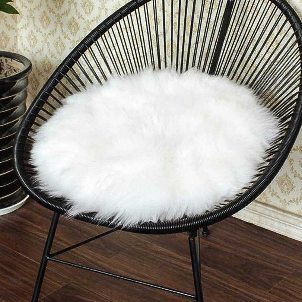 35,6/x 35,6/cm Redondo para Dormitorio Color Blanco Suave Xelparuc//Asiento Coj/ín de Asiento de Piel sint/ética Suave