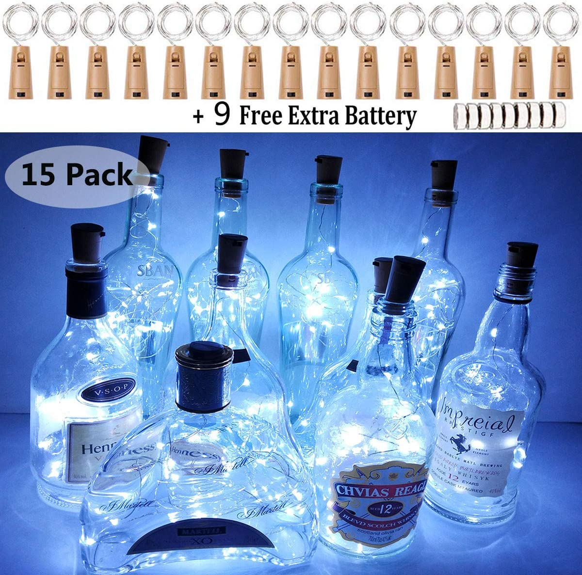 LiyuanQ Wine Bottle Lights with Cork, 15 Pack Battery Operated Cork Lights + 9 PCS Extra Replacement Batteries with Fairy Mini String Lights for Party Wedding Decor Cool White (Bottle not Included)