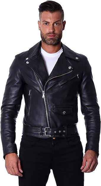 Hommes Veste en cuir Slim Style Motard Moto Cuir d/'agneau Veste en cuir