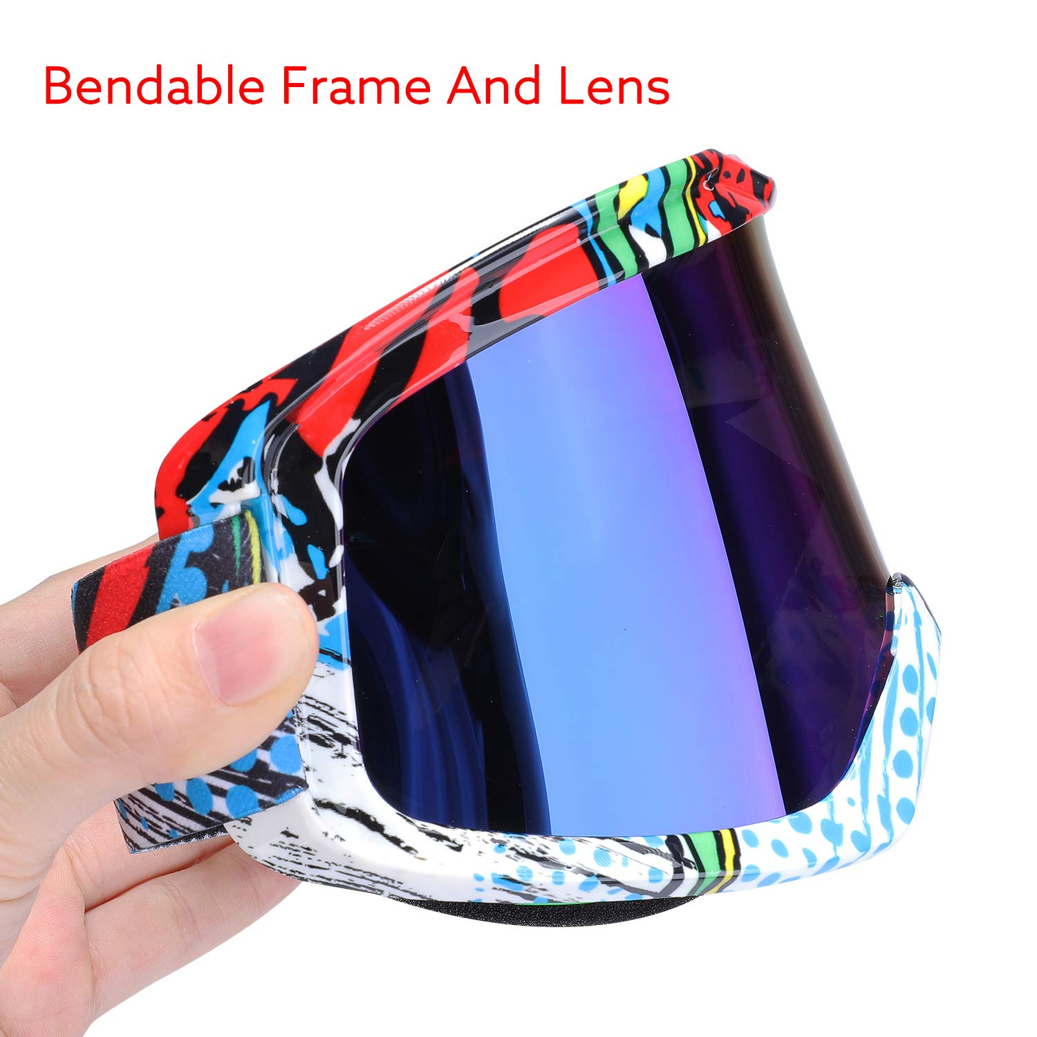 Red Frame+Tined lens off Road Riding Racing Dirt Bike Motocross Goggles,Dustproof Windproof Anti-Scratch Protective Glasses G4Free ATV Goggles Motorcycle Goggles Over Glasses for Adult