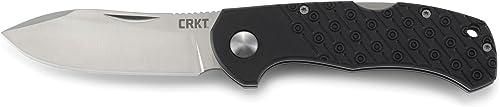 CRKT Noma Folding Pocket Knife Hunting and Outdoor Knife, Butcher s Blade Design, Nail Nick, Lockback Safety, Textured Nylon Handle, Reversible Pocket Clip 2815