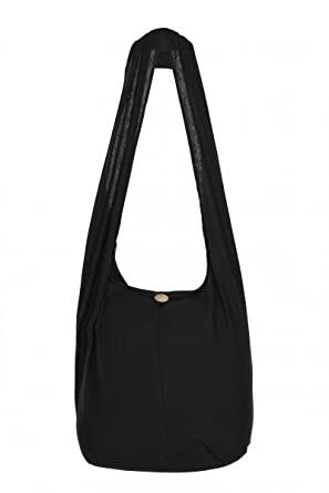 THAI HIPPIE BAG - 100% COTTON BOHO GYPSY SLING PURSE - BOHEMIAN TRAVEL  SHOULDER BAG (Black)  Amazon.co.uk  Clothing 461cccf9845e0