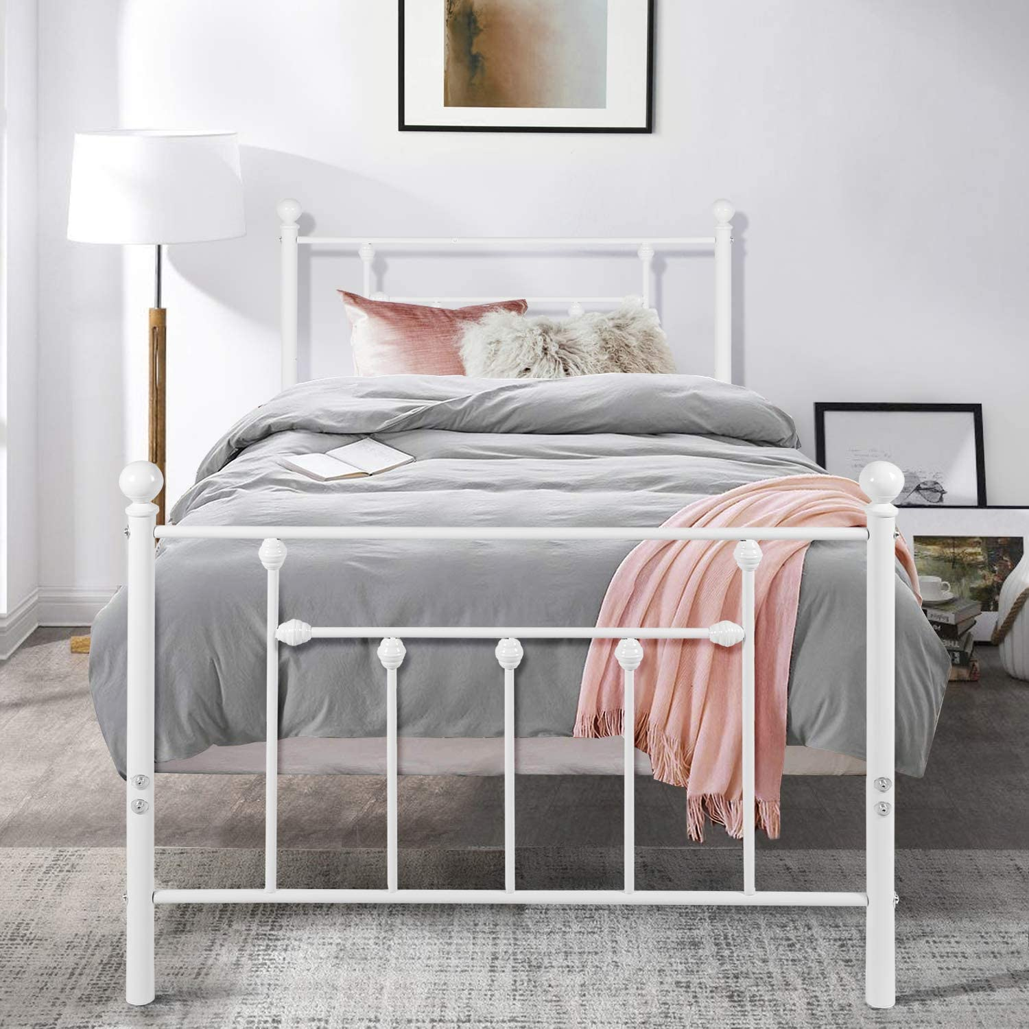 VECELO Twin Size Bed Frame, Metal Platform Mattress Foundation Box Spring Replacement with Headboard Victorian Style, White