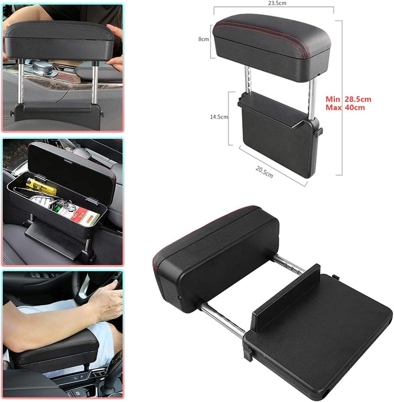 CDEFG Car Armrest Support Elbow Rest Pad Armrest Extender Red Line Adjustable Height Comfort Arm Rest Pads Console Storage Organizer Universal Fit for All Car Models