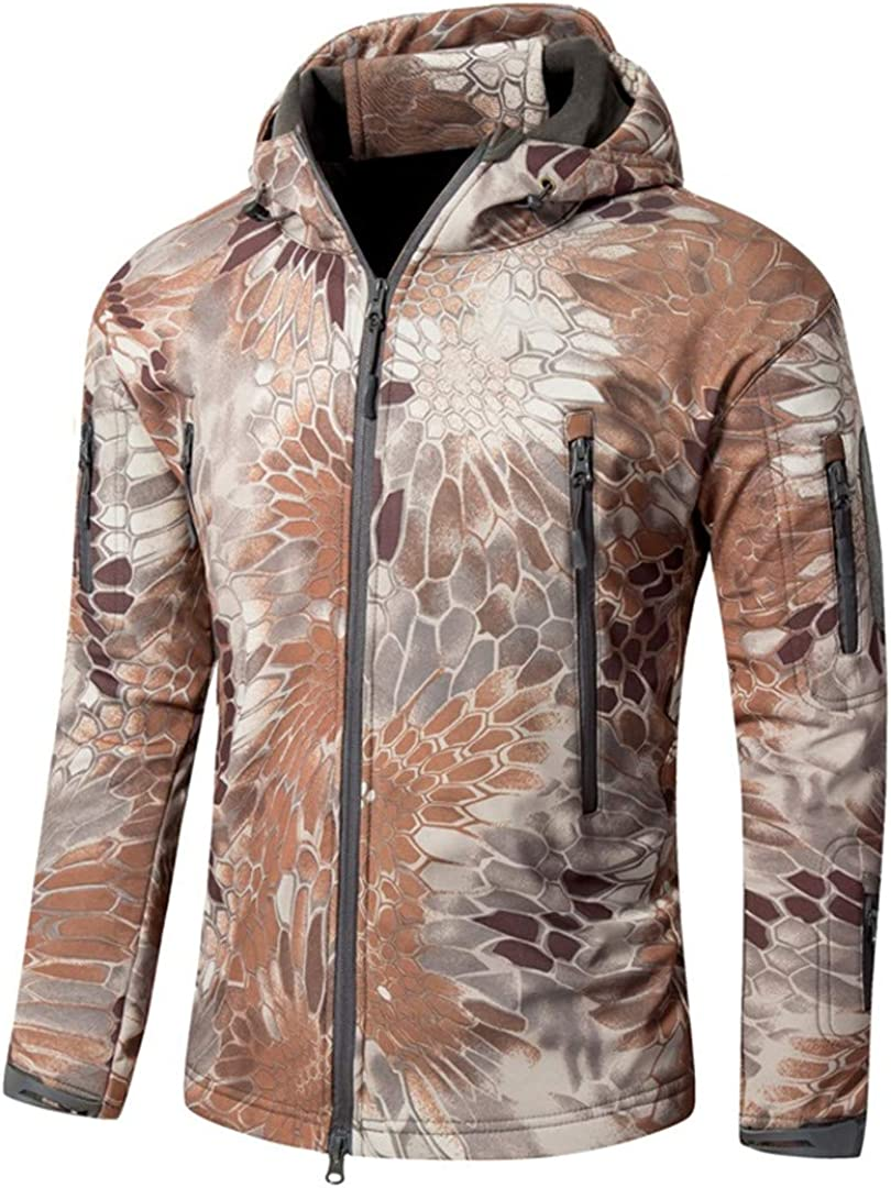 IFAWNGDK Camo Jacket Men's Army Military Style Tactical Soft Shell Warm Fleece Waterproof Coat Camo Shark Skin Outdoor