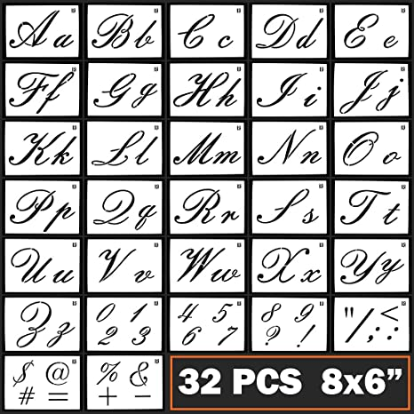 Caligraphy Stencil Letters Cursive Alphabet Letter Number Drawing Painting  Stencils Scale Template Sets for Bullet Journal Stencil Planner / Scrapbook  ...