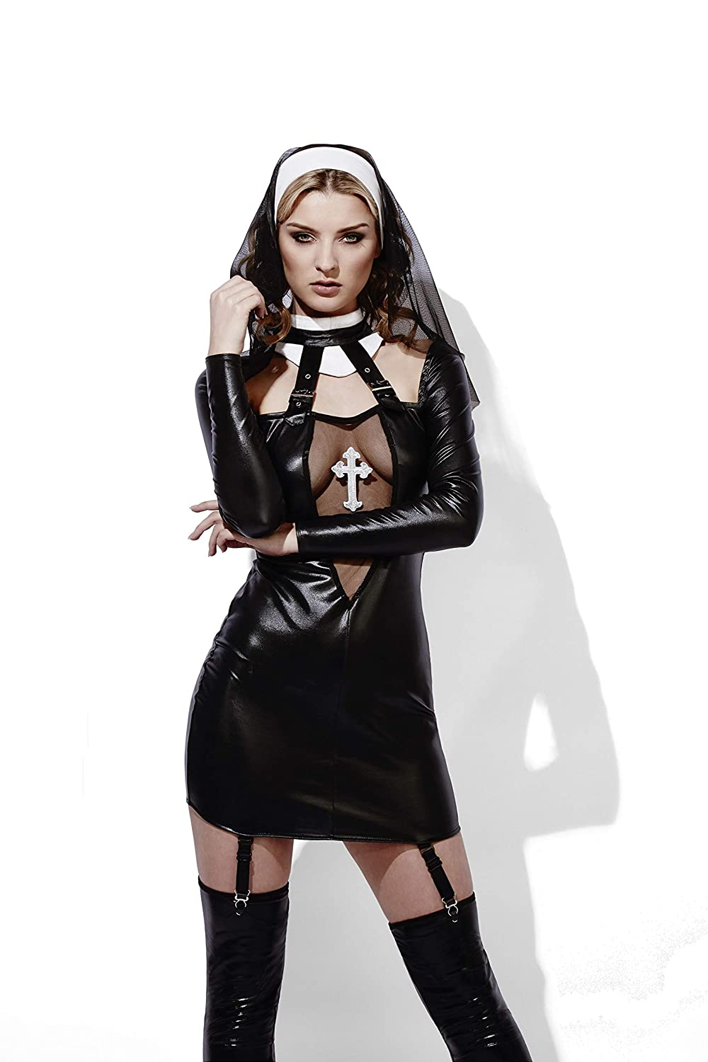 59711db6ace Amazon.com  Fever Women s Miss Behave Nun Costume  Clothing