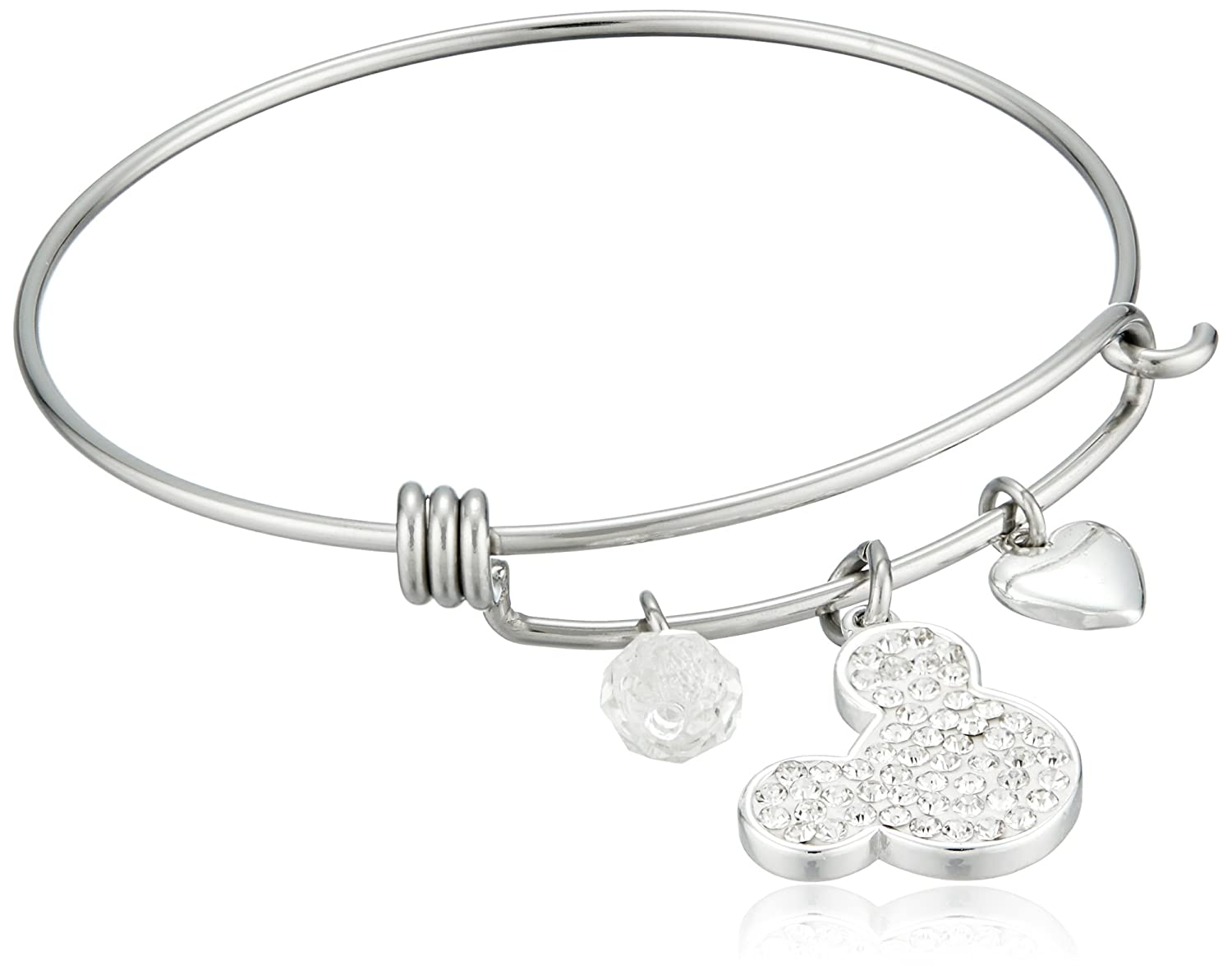 Disney Stainless Steel Catch Bangle with Silver Plated Crystal Mickey Mouse Head,I Love Mickey, Heart and Crystal Bead Charm Bangle Bracelet I Love Mickey Disney Jewelry D50115