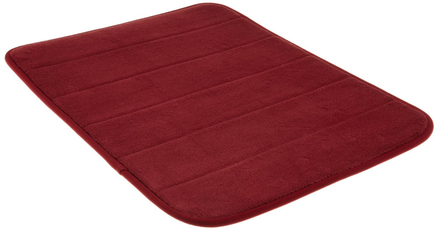 Incredibly Soft and Absorbent Memory Foam Bath Mat, 17 By 24-inch, Burgundy Red by WPM AHF 5844268