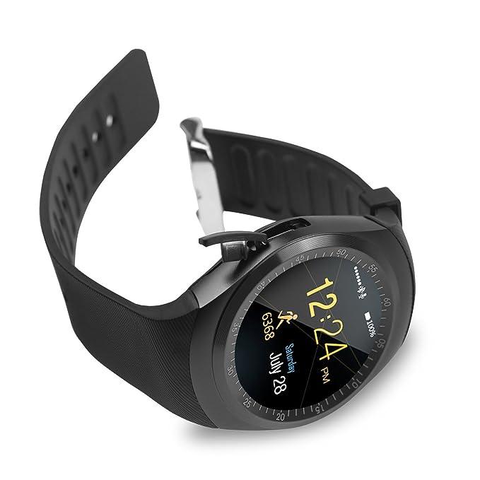 SoloKing T90 Relojes Inteligentes para Android 4.3 y iOS 7,Smartwatch Teléfono Reloj Deportivo con TF/Tarjeta SIM Podómetro Monitor de Sueño SMS ...