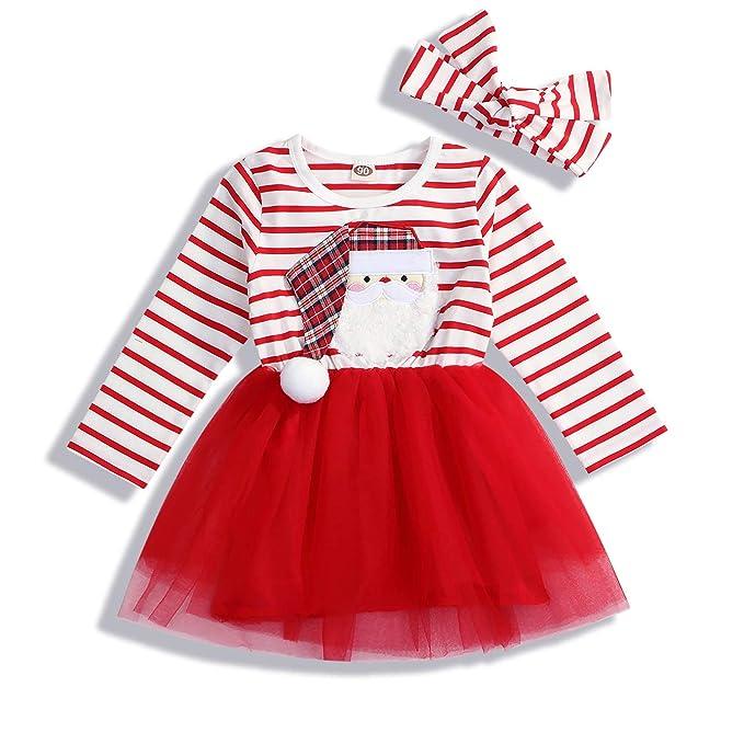 Amazon.com: Vestido de tutú con estampado de Papá Noel, de ...