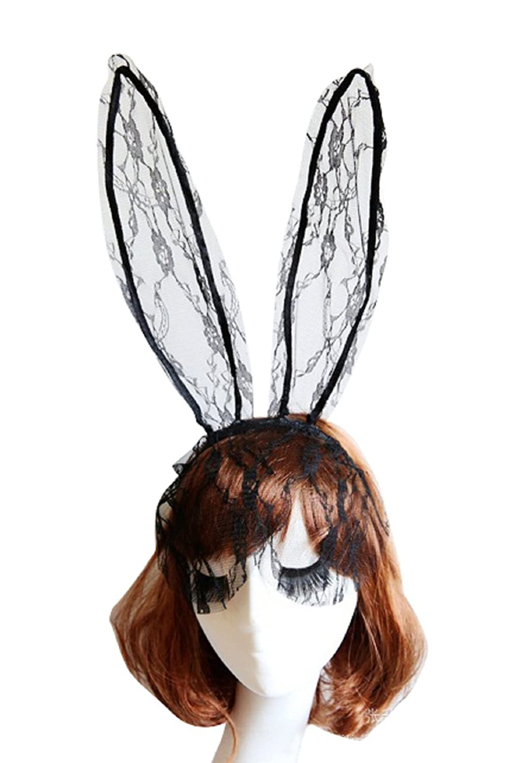 Qunvian Sexy Lace Rabbit Bunny Tutu Ears Lace Gauze Veil Hair Mask