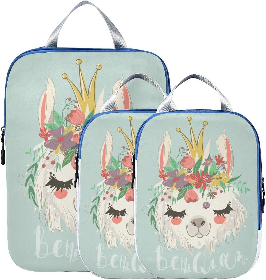 Cute Llama Flower 3 Set Packing Cubes,2 Various Sizes Travel Luggage Packing Organizers j