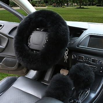 3er Set Universal Auto Plüsch Lenkradhülle Lenkrad Abdeckung Lenkradbezug Aus Lange Wolle 38cm 15 Anti Rutsch Warm Lenkradabdeckung Lenkradschoner Leopard Muster Winter Schutz Auto