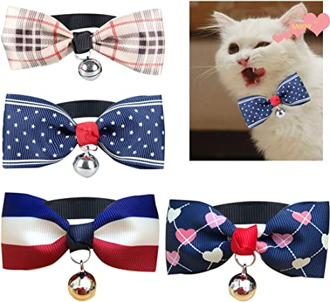 SIPLIV 4 Piezas Cachorro Gato Moda Mascota Pajarita Corbata con ...