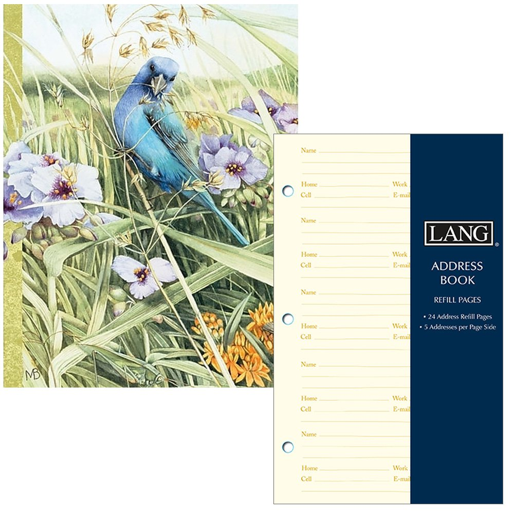 Lang Company Address Book for Women - Blue Bird Design- Three Ring Binder with Tabs - Holds 600 Addresses - Includes Refill Pages for 240 More Addresses by Lang Company