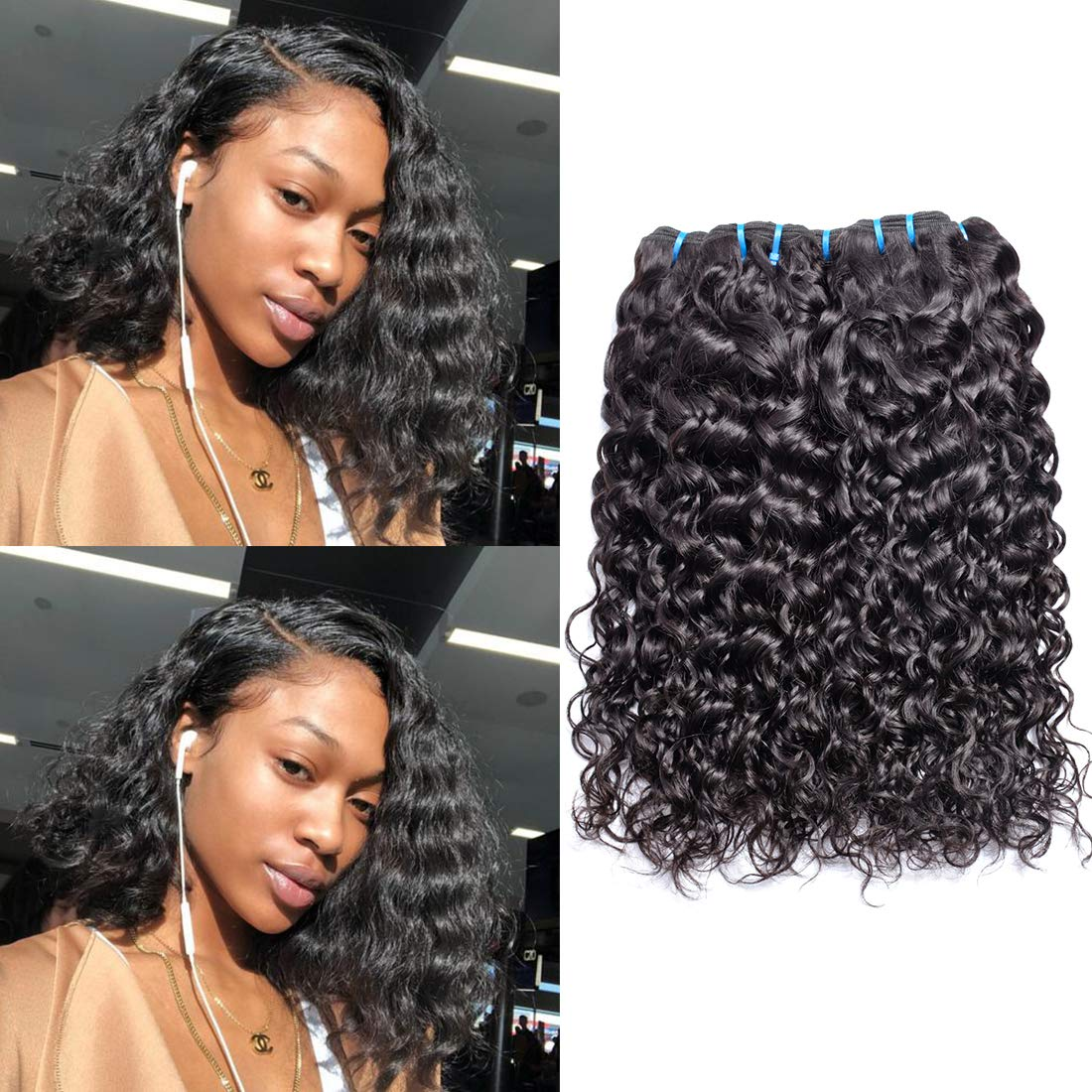 Ms Sunlight Hair Brazilian Water Wave Virgin Hair 3 Bundles 9a Wet And Wavy Human Hair Weave Bundles 100 Unprocessed Virgin Brazilian Human Hair Bundles Natural Color 10 10 10 Beauty Amazon Com