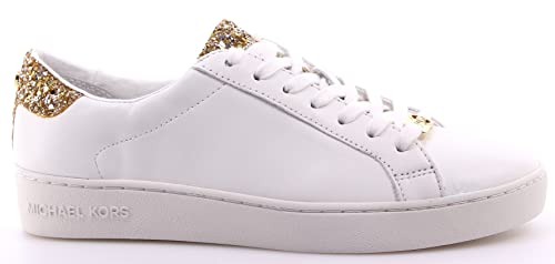 fb8338738c6 MICHAEL KORS women low sneakers 43S6IRFS1L IRVING LACE UP WHITE   GOLD size  38 White