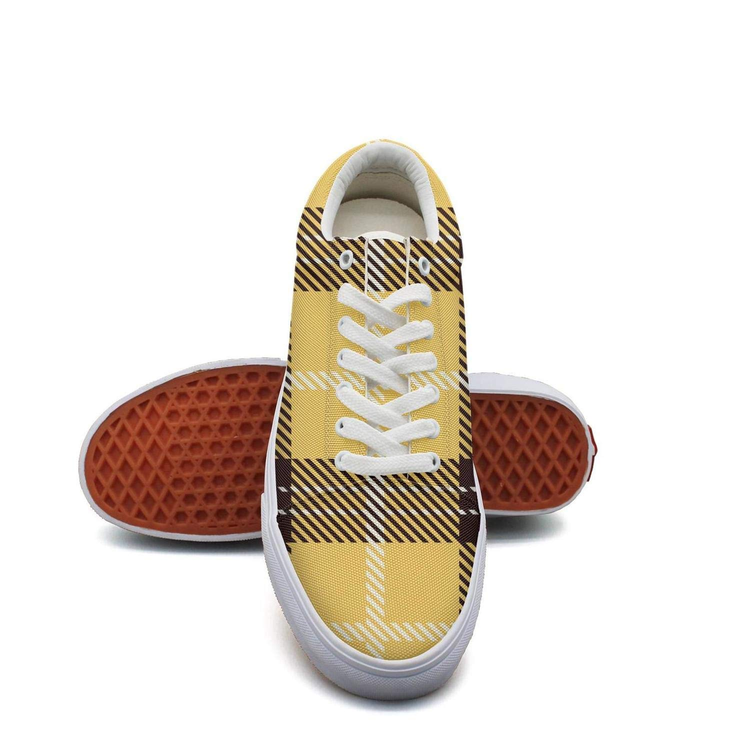 Yellow Brown British 6.5 B(M) US KSOWE3KD Woman Mens' Microfiber Flat shoes White Lattice Red Checkerboard Print Unisex Cushion shoes
