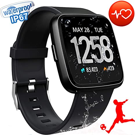 3c9b7d67aad Smart Watch Fitness Tracker for Men Women Bluetooth Sport Watches Waterproof  1.3'' IPS Screen