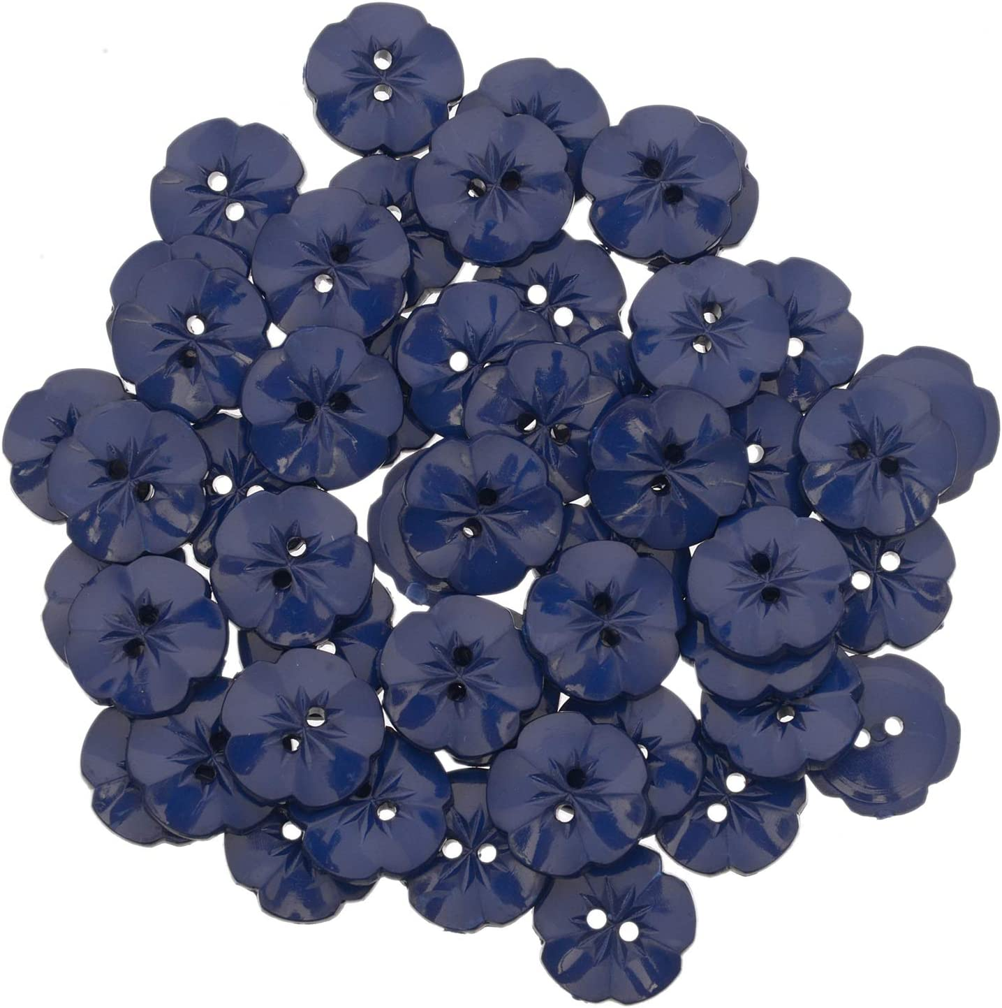2 Hole Pansy Flower Shape Button 28 Line -Tuquoise Mibo Nylon Resin
