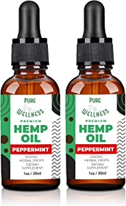 (2-Pack Peppermint) Hemp Oil Extract for Pain Relief & Stress Relief - 5000mg of Organic Hemp Extract - Grown & Made in USA - USDA Organic - Helps with Sleep, Skin & Hair