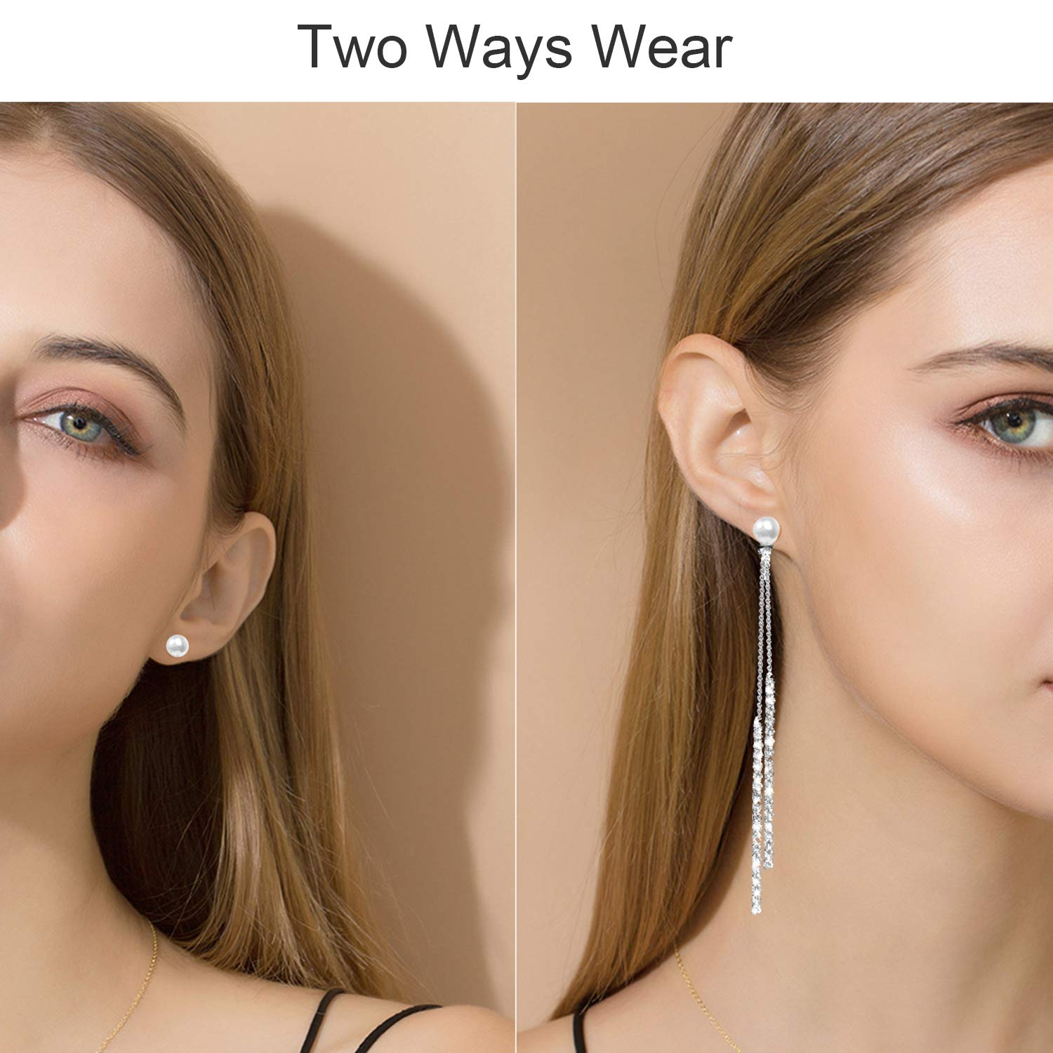 Fashion Long Tassel Crystal Pearl Two Ways Wear Cubic Zirconia Hypoallergenic /& Nickel Free Stud Drop Dangle Earrings Jewelry for Girls Women Chic Silver