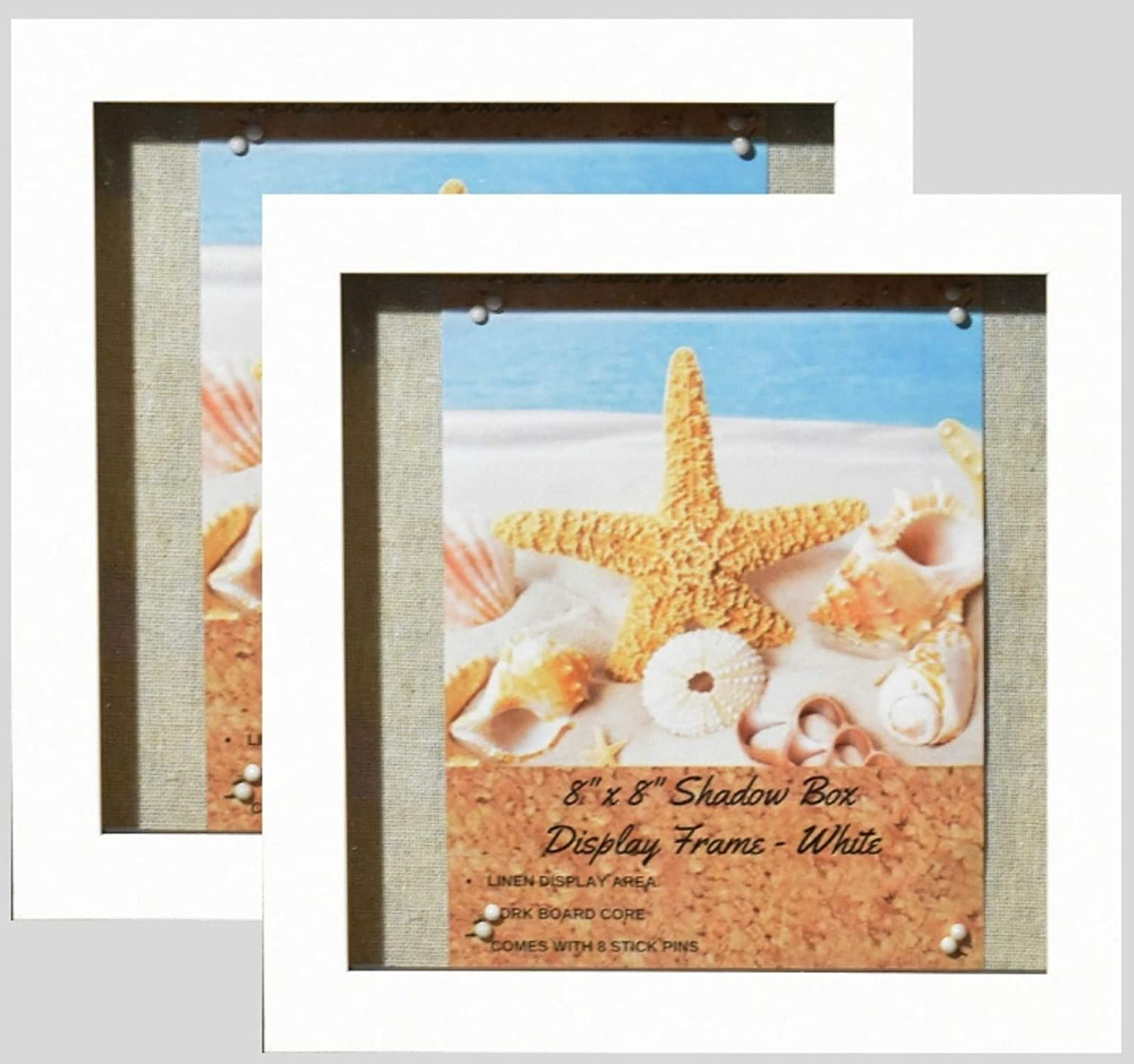 """(2-pack) 8""""x8"""" White Display Shadow Box Frame w/ Linen Background and 16 Stick Pins - Ready To Hang Shadowbox Picture Frame - Easy to Use - Box Display Frame, Baby and Sports Memorabilia Wedding Baby"""