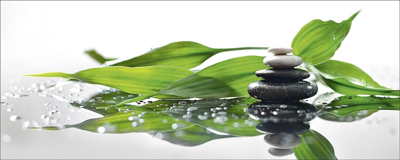 Artland Qualitätsbilder I Glasbilder Deko Glas Bilder 125 x 50 cm Wellness Zen Stein Foto Grün A7QP Spa mit Steinen und ein Zweig des grünen Bambus