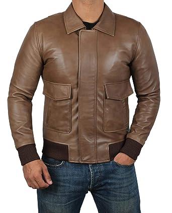 Black Leather Bomber Jackets Men Lambskin Distressed Brown Vintage
