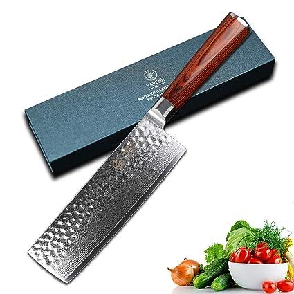 YARENH Cuchillos de Cocina Verdura 17cm,Cuchillo de Cocina Profesional de Acero de Japonés Damasco,Mango de Madera Pakka,Cuchillo Japones Damasco ...