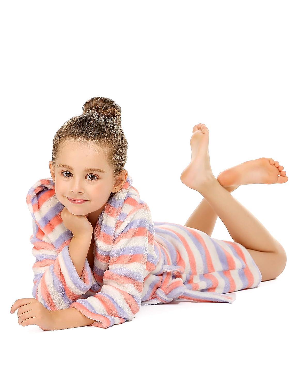Bricnat Girls Bathrobe Cotton Childrens Dressing Gown with Hood Plain Fleece Dressing Gown Polka Dots with Hood Fluffy Purple Blue Stripes