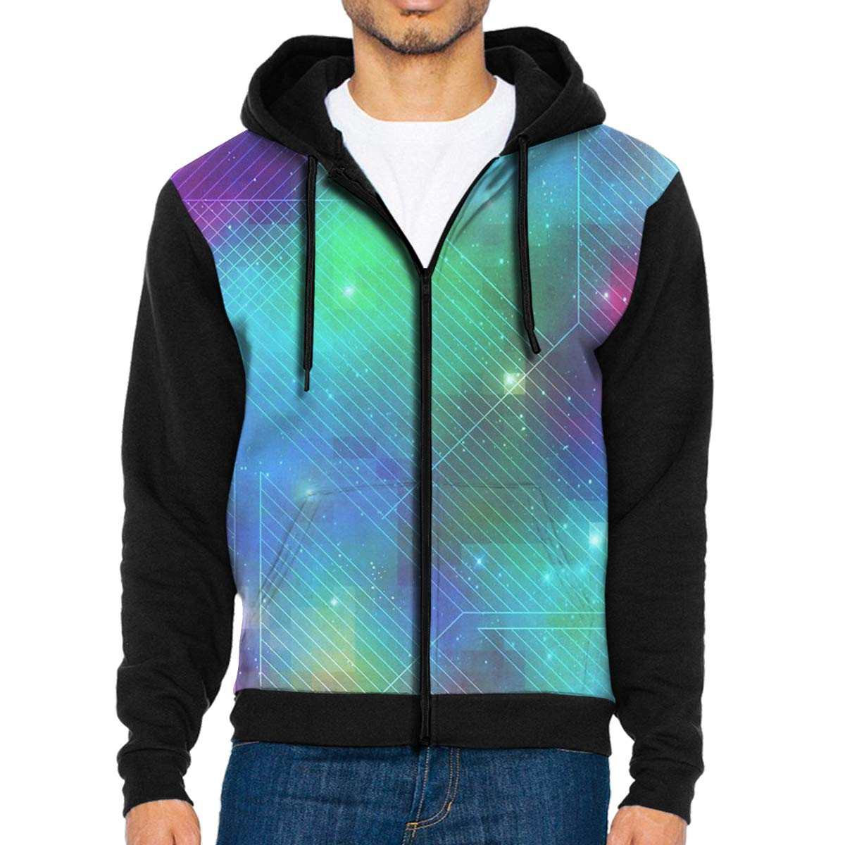 LXP FZD Mens Galaxy Line Fashion Hoodies Cool Jacket Print Zipper Sweatshirts Coat