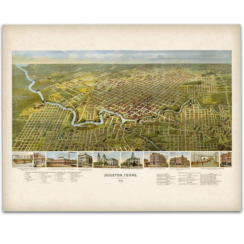 1891 Houston, Texas City Map - 11x14 Unframed Art Print - Great Home Decor Under $15