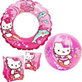 "Intex ""Hello Kitty"" Kids accessories Swimming Set - Set Includes: Swim Ring (Tube), Pair of Deluxe Arm Bands Tube and Beach Ball - For Kids Ages 3-6"
