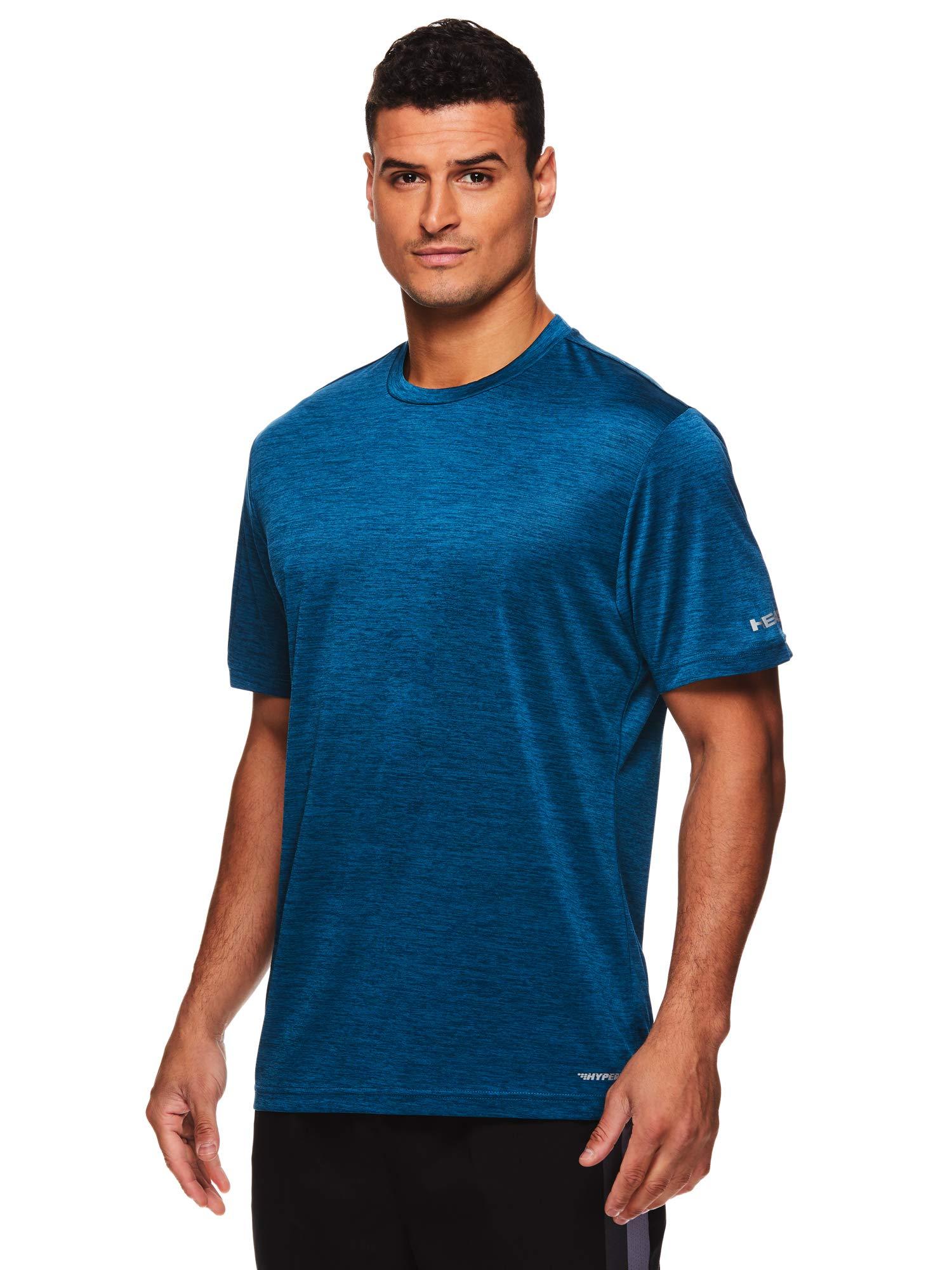 HEAD Men's Ultra Hypertek Crewneck Gym Training & Workout T-Shirt - Short Sleeve Activewear Top - Ultra Lyons Blue Heather, Small