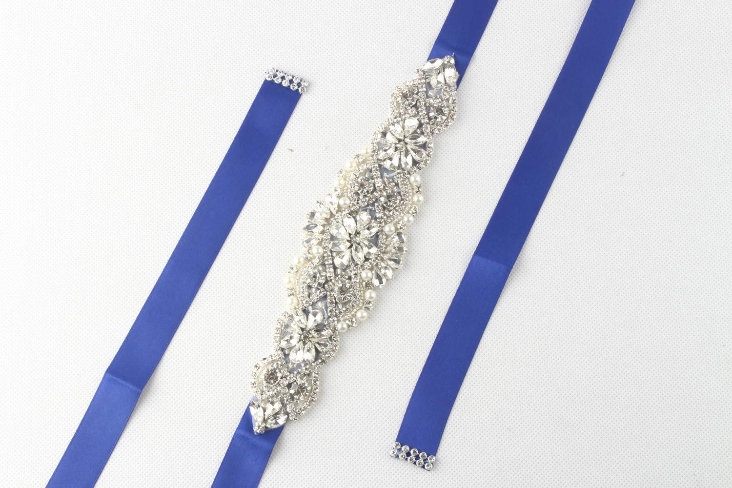 WILTEEXS Handmade Bridal Belt Wedding Belts Sashes Rhinestone Crystal Beads Belt For Bridal Gowns (Silve-blue)