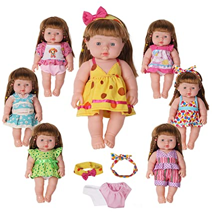 146d4e5a51f07 Amazon.com: Huang Cheng Toys for 12 Inch Alive Baby Doll Handmade Lovely  Dress Clothes Outfits Costumes Dolly Pretty Doll Cloth Accessories Set of  7: Toys & ...