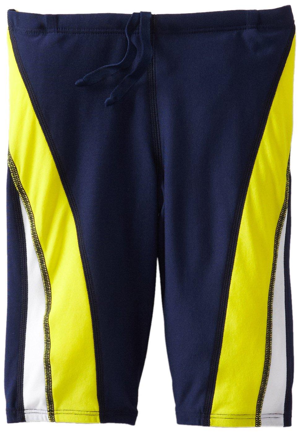 Speedo Men and Boys' Endurance+ Launch Splice Jammer Swimsuit, Navy/Gold, 22