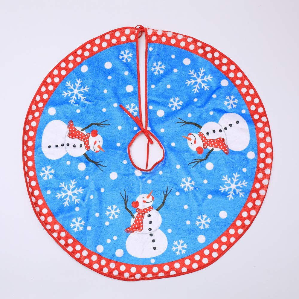 "35"" Christmas Tree Skirt, Snowman Xmas Tree Skirt Holiday Decorations, Round Indoor Outdoor Mat for Christmas Holiday Party Decoration (Blue 1)"