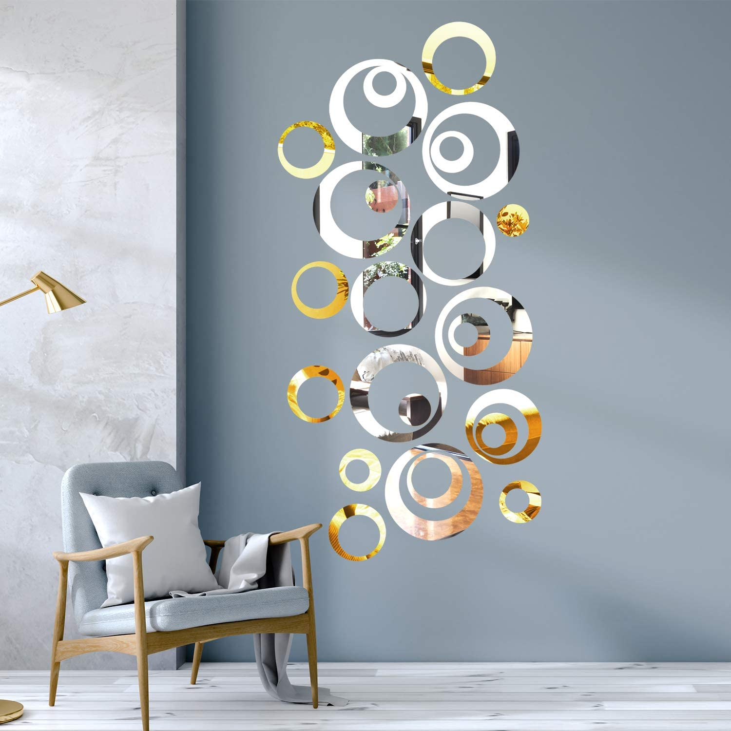 Aneco 48 Pieces DIY Circle Mirror Wall Decals Removable Acrylic Mirror Style Stickers Self Adhesive Circle Mirror Decal for Home Decor