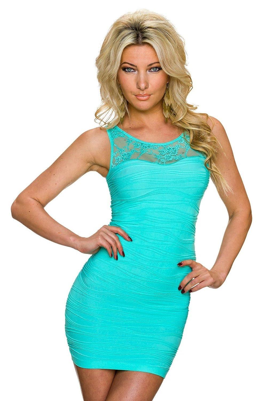 TYZI Damen Minikleid Mini Kleid mit Spitze Abendkleid Sommerkleid Strandkleid, verschiedene Farben