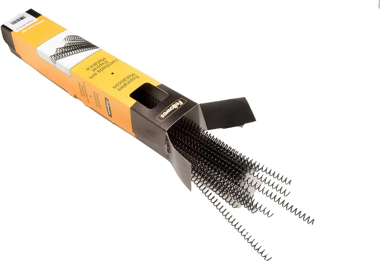 Fellowes ESP010-100 espirales metálicas para encuadernar, paso 5:1, 59 agujeros, 10 mm, color negro