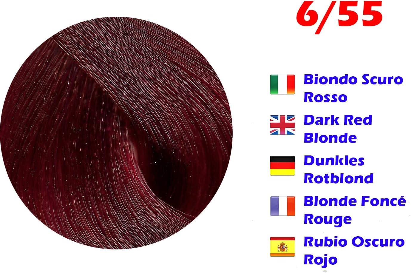 Tinte de Pelo Profesional Rubio Oscuro Rojo Extreme con Amoníaco 6/55 Permanente 100ml Made in Italy