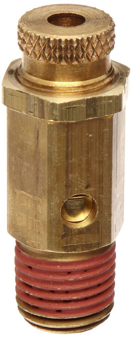 "Control Devices NC Series Brass Non-Code Safety Valve, 25-200 psi Adjustable Pressure Range, 1/4"" Male NPT"