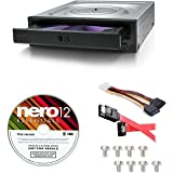 LG Internal 24x Super Multi with M-DISC Support DVD Burner (GH24NSC0B) Bundle with Nero 12 Essentials Burning Software + Cabl