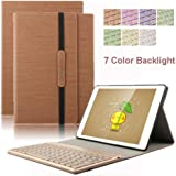 "New iPad 9.7 inch Keyboard Case, Dingrich 7 Colour Backlit Aluminium Detachable Bluetooth Keyboard Folio Stand PU Leather Cover for New iPad 9.7"" 2017 Tablet With Free Screen Protector and Stylus(Brown)"