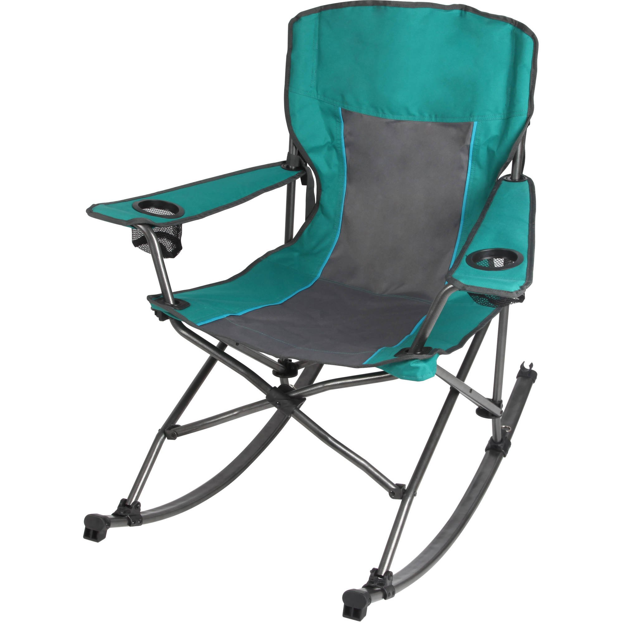 Ozark Trail Quad Fold Rocking Camp Chair with Cup Holders, Green (L x W x H) 32.80 x 38.20 x 38.20 Inches by Camp Chair.
