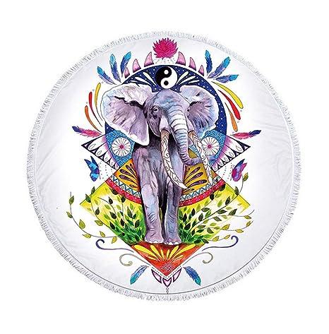 Multicolor Mandala Elefante con plumas redondas Toallas con borlas ...