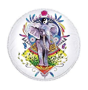 Multicolor Mandala Elefante con plumas redondas Toallas con borlas Estilo Bohemio elefante Lotus redondas playa lanzamiento
